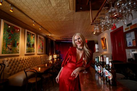 KGB Bar's tin ceilings date back to the 1880s, per manager Lori Schwarz